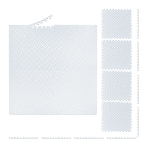 Relaxdays Esterilla protectora para el suelo, 60 x 60 cm, 8 esterillas de protección con borde, EVA, superficie de 3 m², alfombrilla para aparatos de fitness, color blanco