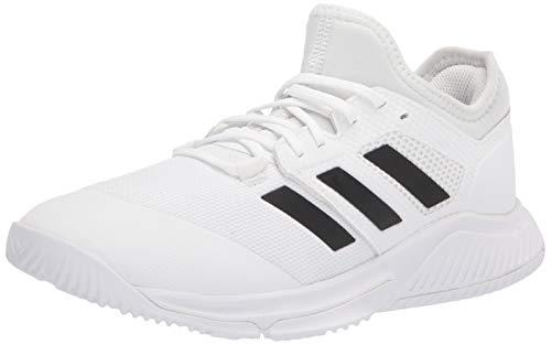 adidas Women's Court Team Bounce Volleyball Shoe, White/Black/Silver Metallic, 6