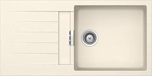 SCHOCK hochwertige Küchenspüle 100 x 50 cm Signus D-100L Magnolia - CRISTADUR beige Granitspüle mit Abtropffläche ab 60 cm Unterschrank-Breite