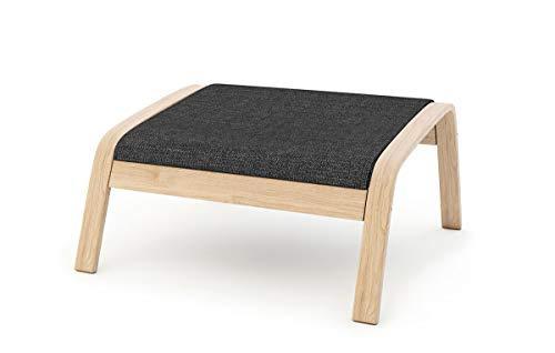 Masters of Covers - Funda de repuesto para sillón de Ikea «Poäng», Tetron Cotton - Negro, Footstool Design 2