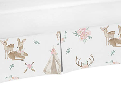 Sweet Jojo Designs Blush Pink, Mint Green and White Boho Pleated Toddler Bed Skirt Dust Ruffle for Woodland Deer Floral Collection