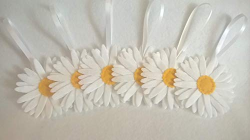 Felt Daisy Decorations. Easter Tree Decorations, Artificial Spring Flowers. Ideal Mothers Day Gift. 6 Pack