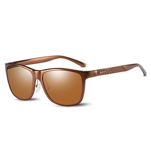 LumiSyne Gafas de sol Polarizadas Hombre Gafas de Conducción Deportes Súper Ligero Al-Mg Marco Cuadrado De Metal UV 400 Con Funda De Gafas Para Al aire libre Viajar Caja de Regalo