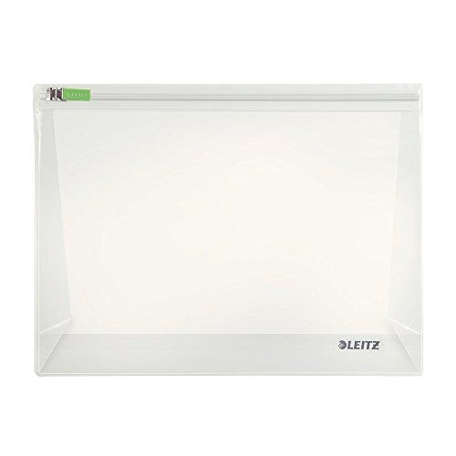 Leitz 2er-Pack Zip-Beutel (geeignet für Reiseutensilien, Duschgel, Kosmetik, Shampoo, Gr. M mit Falte, PVC, Complete), Farblos, 40080000