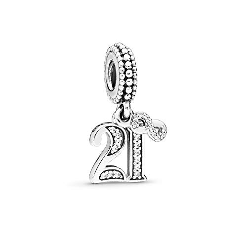 FGT 21st Celebration Dangle Charm for Bracelets Infinity Forever 21 Birthday Anniversary Sterling Silver Charm for Women