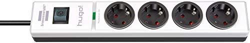 Brennenstuhl hugo! Steckdosenleiste 4-fach mit Überspannungsschutz (2m Kabel und Schalter, Gehäuse aus stabilem Polycarbonat) schwarz/weiß