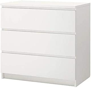 Wooden chest of 3 drawers, white, 80x78 cm