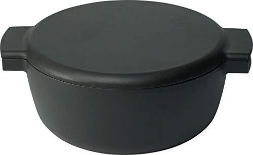 Ovject キャンプ アウトドア 日本製 両手鍋 ホーロー 鋳物 深型 23cm 3.6L ダッチオーブン 薪ストーブ 料理 IH対応 マットブラック O-THP-23D
