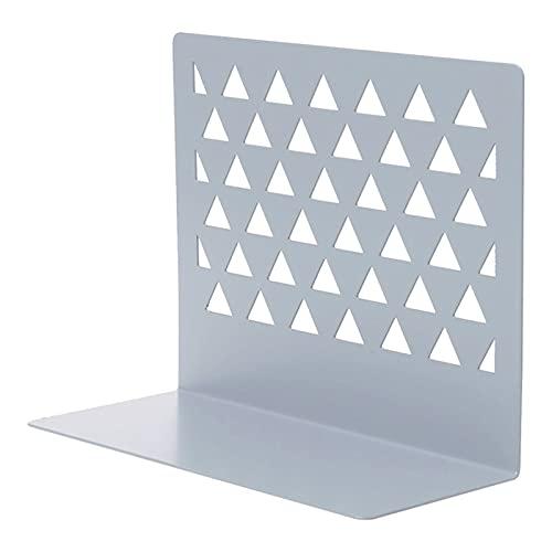 Binn Soporte Libros Bookends for Shelves Decorative, Metal Hollow Desktop Organizer Sookends, Bookrack Home Office Supplies, 1 par, 15x7x12.5cm Decorativos (Color : White Gray)