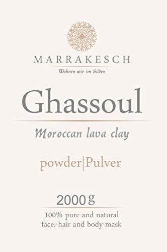MARRAKESCH Ghassoul Lavaerde Pulver 2000g | Original Marokkanische Tonerde als Gesichtsmaske für Gesichtsreinigung | Natürliches Peeling für Gesicht Haut und Haare | Wascherde als Körperpflege