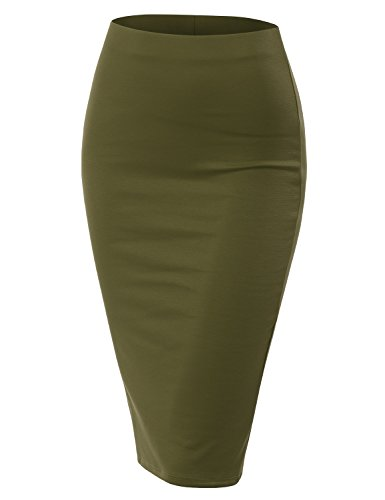 Doublju Stretch Knit Midi Pencil Skirt with Back Slit for Women with Plus Size Olive Medium