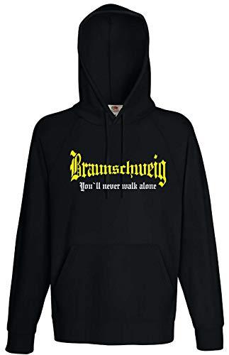world-of-shirt / Braunschweig Herren Kapuzensweat You`ll Never Walk Alone Schwarz L