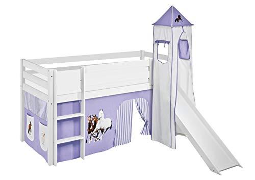 Lilokids Lit Mezzanine JELLE Cheveaux Lilas-Beige - lit d'enfant Blanc - avec Toboggan, Tour et Rideau - lit 90x190 cm