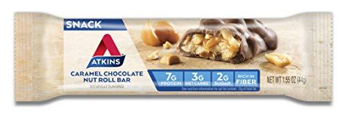 Atkins Snack Bar, Caramel Chocolate Nut Roll, Keto Friendly, 1.55 oz, 8 count 4