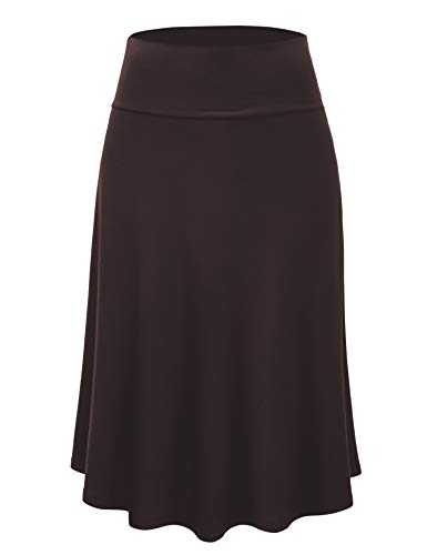 Lock and Love LL WB1105 Womens Lightweight Fold Over Flared Midi Skirt XL Brown