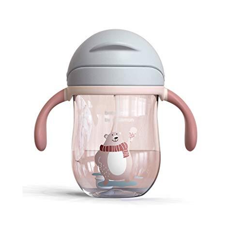 Zeng ling liang Bouteille d'eau Potable pour Enfants Tasse de bébé avec biberon de Paille Tasse de poignée Anti-Goutte et Anti-Fuite de 240ml pour étudiants (Color : Gray, Taille : 360ml)