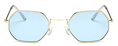 LOPIXUO Gafas de sol Gafas de sol de mujer Hexagon Sunglasser Fashion sin montura con lentes de océano transparentes, azul dorado