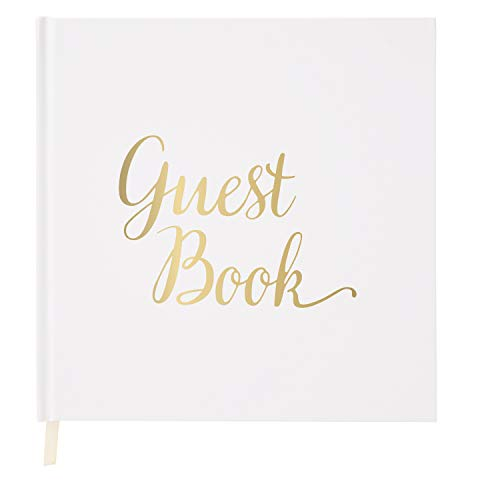 Wedding Guest Book Gold Guestbook - Blank NO Lines - Memory Signature Message Book - Birthday Engagement Party - White Paper Ribbon & Foil Stamping - Thick Paper 32 Page/64 Side Square