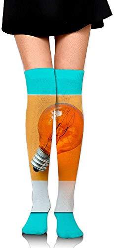 DAWN&ROSE Lamp Idee Intion Lichtbol Oranje Print Casual Knie Hoge Sokken Mode Atletische Kousen