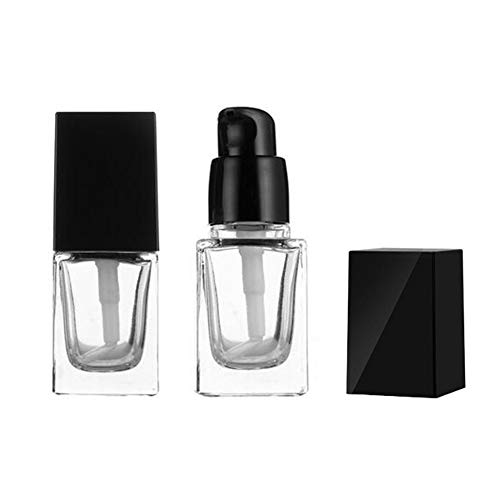 2Pcs 15ml/0.5oz Empty Clear Square Glass Emulsion Essence Bottle With Black Pump Head Cosmetic Foundation Travel Vials Containers Holder For Lotion Cleanser Essential Oils Liquids Body Cream