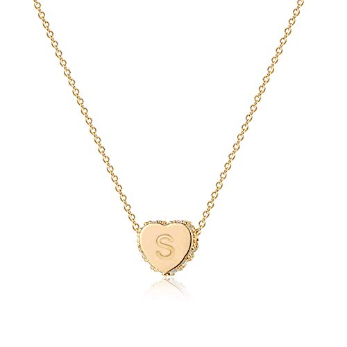 Fettero Tiny Gold Initial Heart Necklace Choker Diamond CZ Pave Dainty Chain 14K Gold Filled Minimalist Simple Personalized Jewelry Gift for Women Letter S