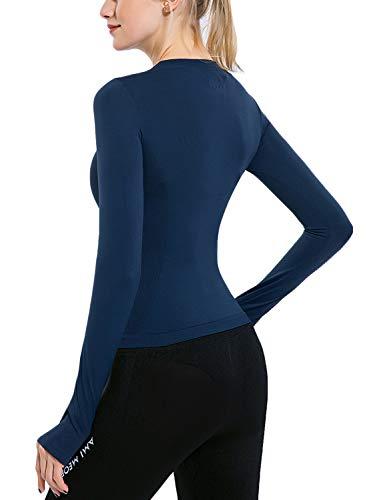 Women's Quick Dry Running Long Sleeve Sport Tops Shirts (Medium, Navy)