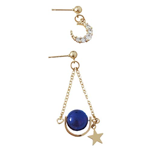 Holibanna 1 par de Pendientes de Estrella de Creciente Tachuelas de Cristal Pendientes de Amuleto de La Oreja de Las Mujeres de La Suerte Pendientes de Oreja para Damas Mujeres Regalo