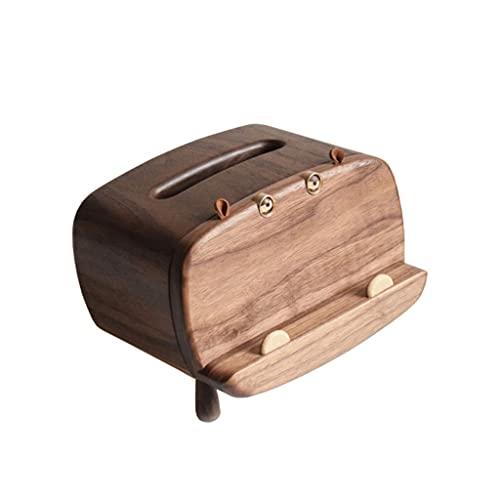BIAOYU Funda multifunción para caja de pañuelos con soporte para teléfono móvil, soporte para caja de pañuelos de madera maciza para encimeras de baño (color: A)