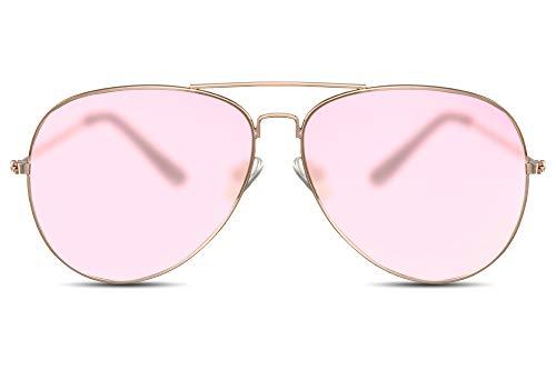 Cheapass Gafas de Sol Gafas Piloto Doradas Metálicas Cristales Translúcidos Rosas Mujer