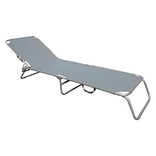 Charles Bentley Folding Sunlounger Grey