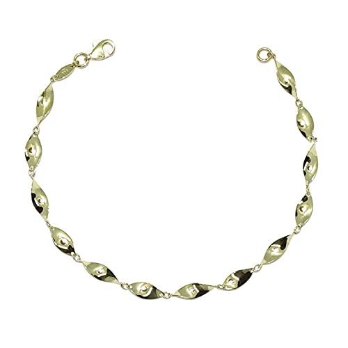 Pulsera para mujer de Oro Amarillo de 18k con cadena de hojas rizadas de 19.50cm de Larga. Cierre mosquetón Peso; 2.70 gr de oro de 18k.