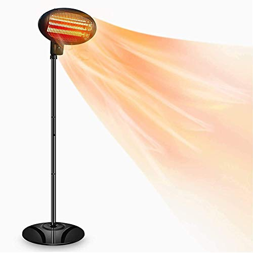 TXYJ 2kW IPX4 Freestanding Electric Quartz Bulb Patio Heater - 3 Power Settings (Black Free Standing Heater)