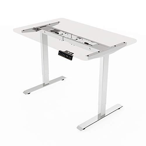 E.For.U Elektrisch höhenverstellbarer Schreibtisch (Dualer Motor, Weiß) - ohne Tischplatte!