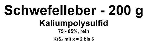 200g azufre Hígado, potasio Poly sulfuro k2sx (75–85% pura) Cobre, Plata beizen (Artificial Envejecer Lassen)