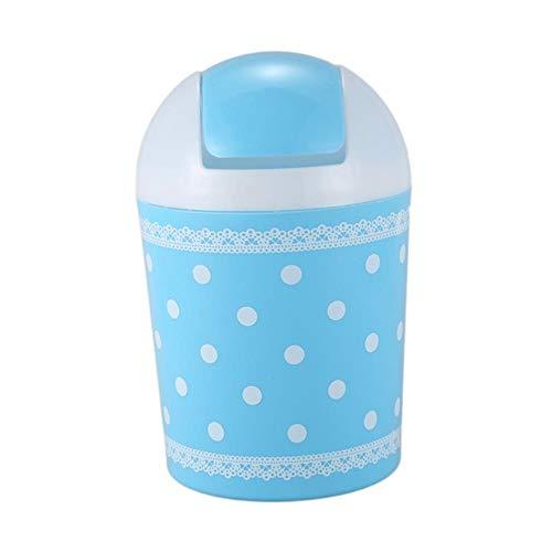 JUECAN Mini Cesta para Basura de plástico Cubo de Basura Papelera de Escritorio Taller Exquisito Color, Azul,Blue