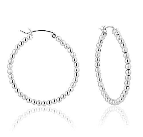 DTP Silver - Pendientes de Aro de mujer - Creoles con bolas - Plata 925 - Espesor 3 mm - Diámetro 40 mm