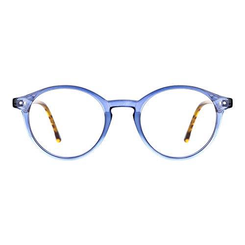 TIJN Gafas de bloqueo de luz azul para hombres y mujeres Vintage grueso borde redondo marco gafas