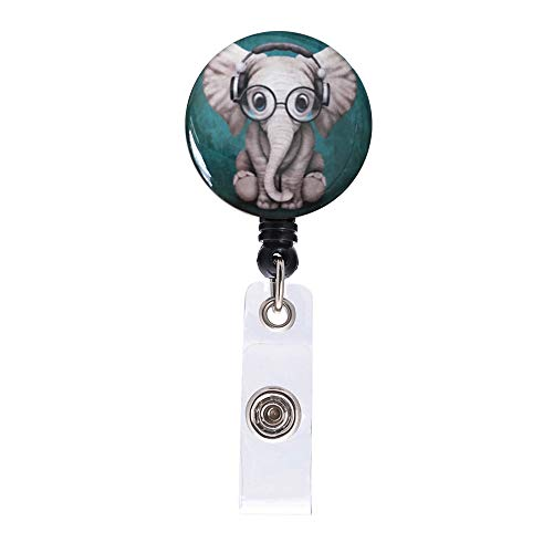 Green Headset Music Elephant Retractable ID Card Badge Holder with Alligator Clip, Name Nurse Decorative Badge Reel Clip on Card Holders