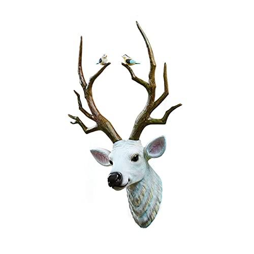 Deer Head Wall Wiszące Żywica Zwierząt Głowy Mural Rzeźba Salon Tło Ścienne Rzemiosło Ozdoby Zwierzęta głowa (Kolor: biały) Kod produktu: WW-659 Realistyczna rzeźba głowy zwierzęcia (Color : White)