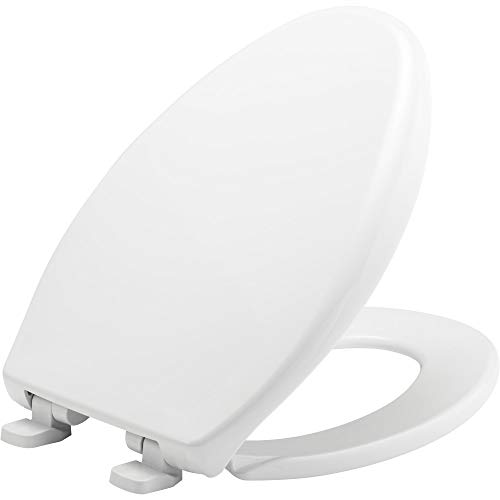 BEMIS 7900TDGSL 000 Commercial Heavy Duty Closed Front Plastic Toilet Seat with Cover will Slow Close, Never Loosen & Reduce Call-backs, ELONGATED, White