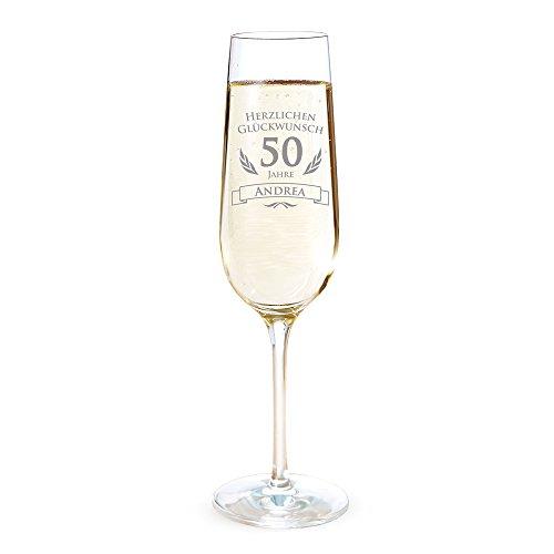AMAVEL Sektglas mit Gravur zum 50. Geburtstag – Personalisiert mit [Namen] – Sektflöte als Geburtstagsgeschenk – Geschenkidee für Frauen – Glas für Sekt, Champagner und Prosecco – Sektkelch