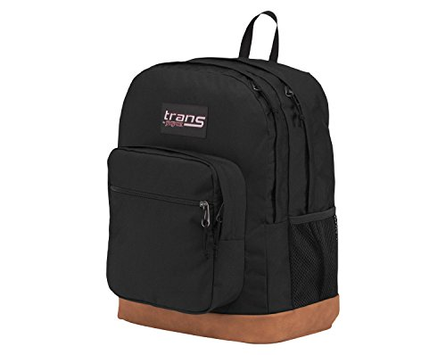 JanSport JS0A33S3 17quot Supercool Backpack Black with Brown Synthetic Leather Base