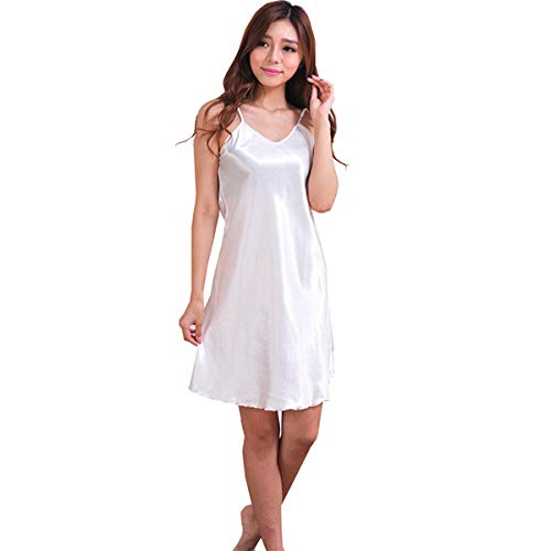 Witte oversized vrouwelijke satijnen rayon nachtjapon dame sexy spaghetti nachtjapon vrouwen nachtjaponnen mouwloze nachtkleding nachtkleding