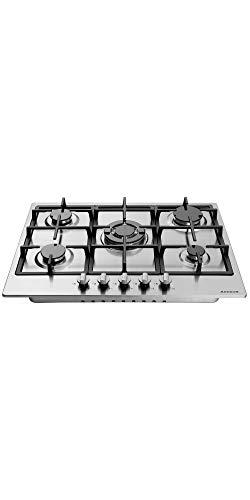pas cher un bon Cuisinière à gaz Alevos 5x brûleur / en acier inoxydable / convient au gaz naturel