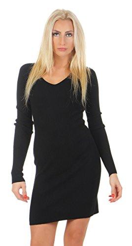 Fashion4Young 10894 Damen Feinstrick Kleid Minikleid Strickkleid Langarm V-Ausschnitt (schwarz, S/M=34/36)