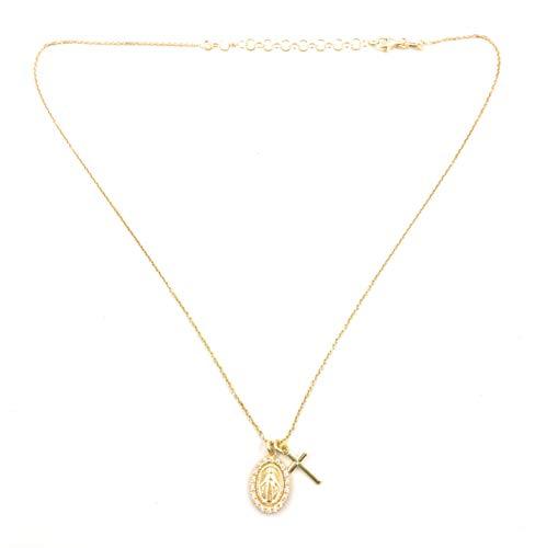 Medalla Virgen Milagrosa con Cruz en Plata de Ley Cubierta de Oro de 18kt