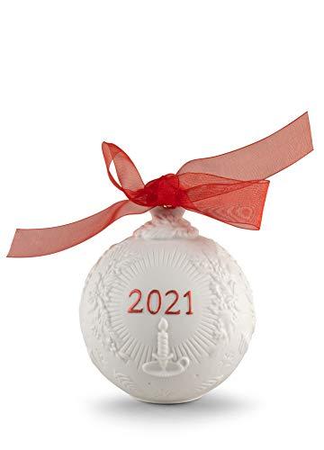 LLADRÓ Bola Navidad 2021. Rojo. Bola De Navidad de Porcelana.