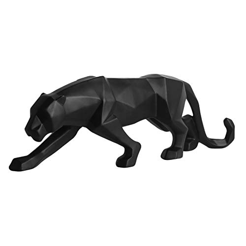 Baoblaze Moderne Leopard Skulpturen Panther Sammeln Figuren Harz Tier Statuen Wildlife Dekoration für Desktop Office Home Ornamente - Schwarz