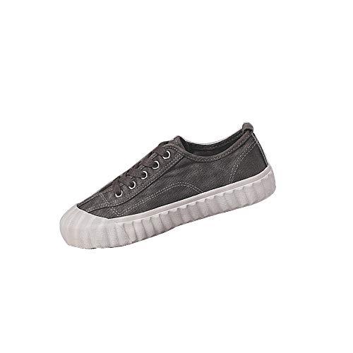 Reine Farbe Segeltuchschuh, Wilde Herbstschuh Frauen Nette Beiläufige Leichte Low-Top-Schuhe Für Mitschülern Trend-Shopping,Darkgray,37