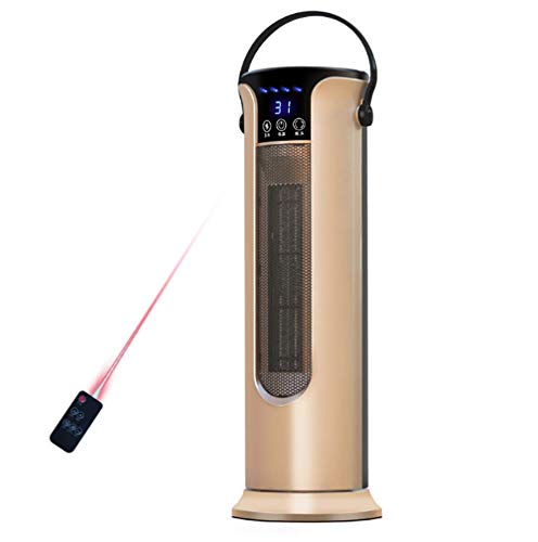 Saddpa ventilatorkachel met afstandsbediening, keramische elektrische verwarming 1000/2000W, bescherming tegen oververhitting, oscillatie, voor thuis, kantoor, badkamer, baby goud